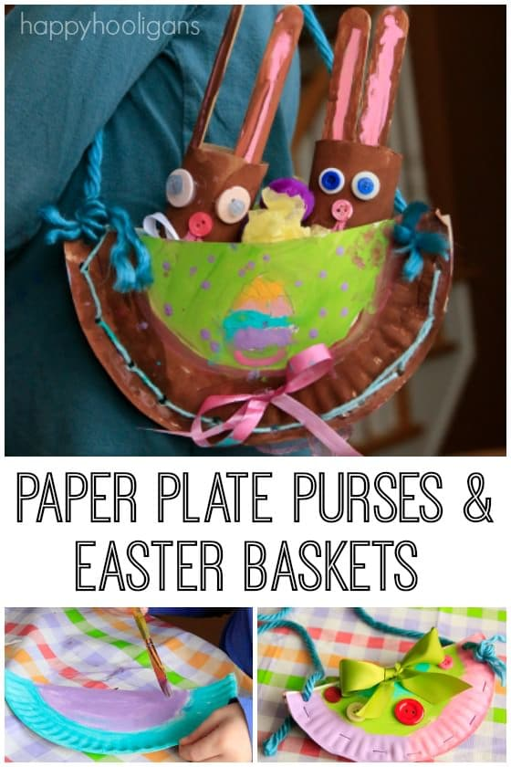 Paper Plate Easter Craft for Kids - Purses and Easter Baskets