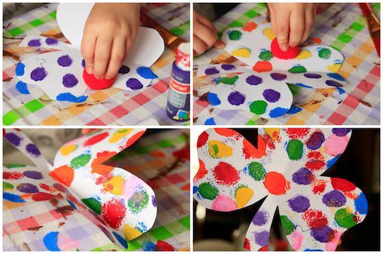 Pom Pom Painting Shamrock Craft for St. Patrick's Day