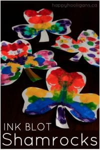 Rainbow Ink Blot Shamrocks - a St. Patrick's Day Craft for Kids
