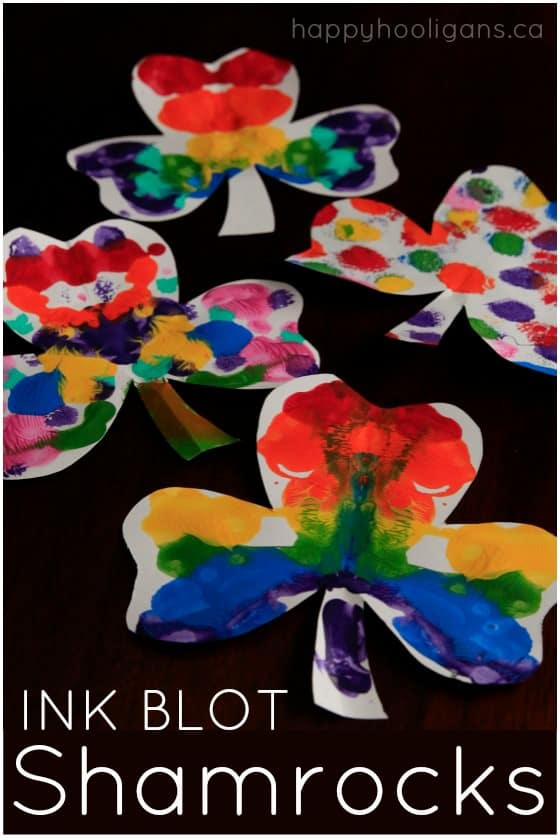 Rainbow Ink Blot Shamrock Craft for Kids for St. Patrick's Day