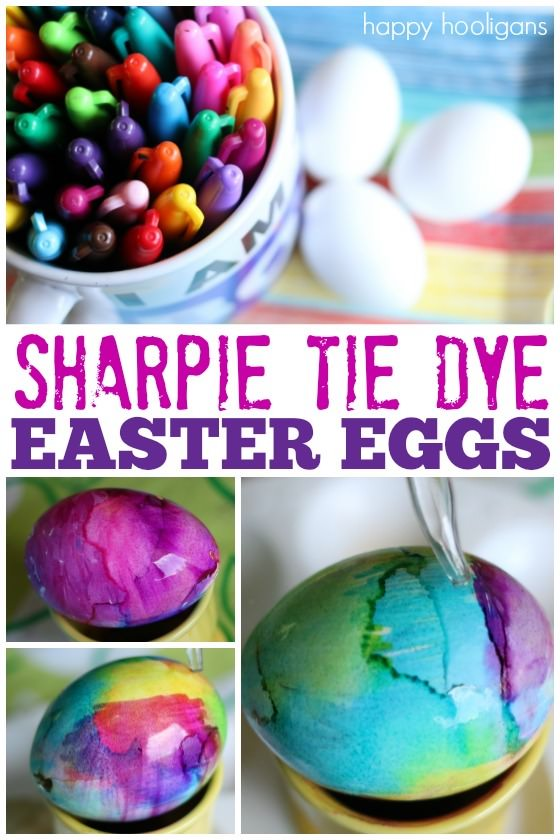 Tie-Dye Easter Eggs with Sharpies and Rubbing Alcohol - Happy Hooligans