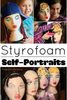 Styrofoam Head Self Portrait Craft for Kids - Happy Hooligans