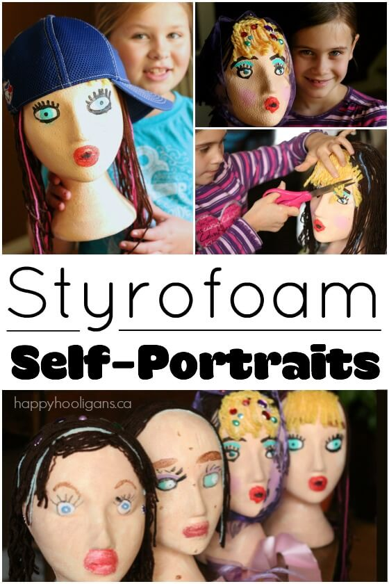 Styrofoam Head Self-Portrait Craft for Kids - Hands down, this was the coolest art activity we've ever done! The kids transformed white styrofoam mannequin heads into stunning one-of-a-kind pieces of art. Great for art class, craft camp, kids' parties or crafting with friends at home - Happy Hooligans