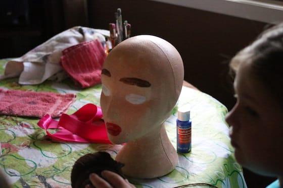 painted styrofoam head