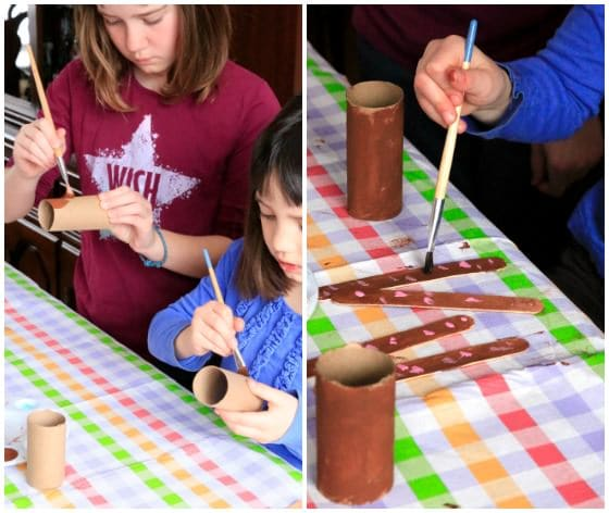 painting tp rolls for easter bunny craft