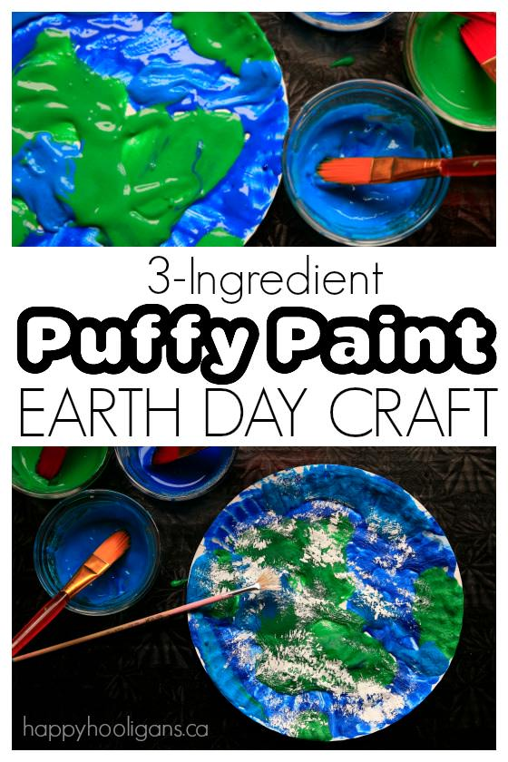 Puffy paint earth day craft for Kids