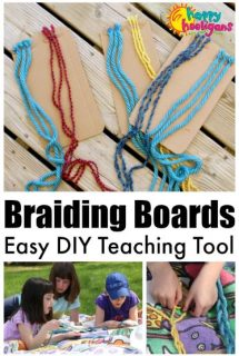 Kids learning to braid with yarn glued to cardboard