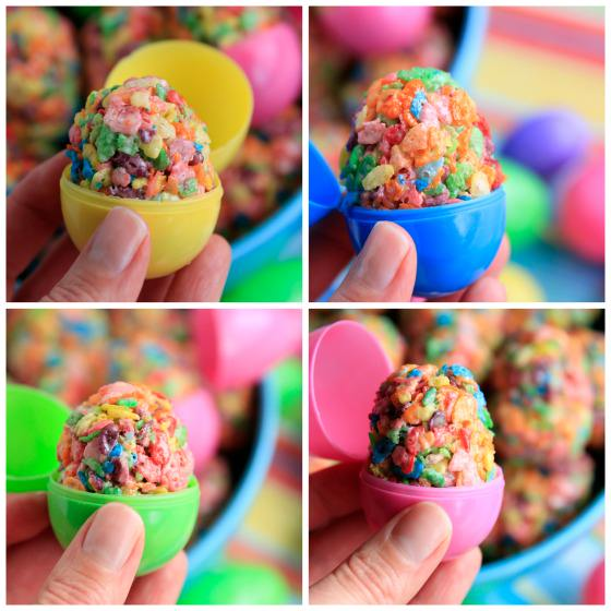 Collage: ruity Pebbles Easter Egg Treats in 4 coloured plastic eggs