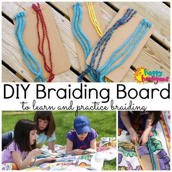 Homemade Braiding Board to teach kids how to braid
