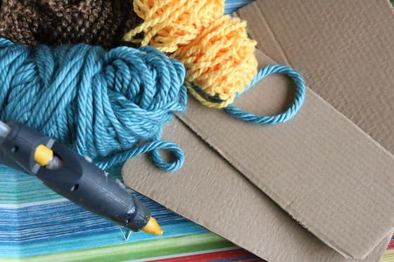 yarn, cardboard and glue gun