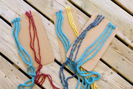 homemade cardboard braiding boards