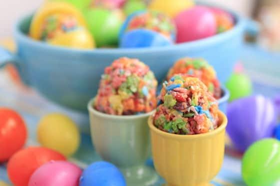 Fruity Pebble Marshmallow treats for Easter