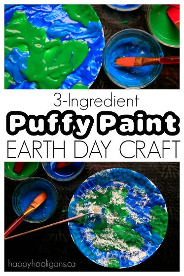 {3-Ingredient} Puffy Paint Earth Day Craft for Kids
