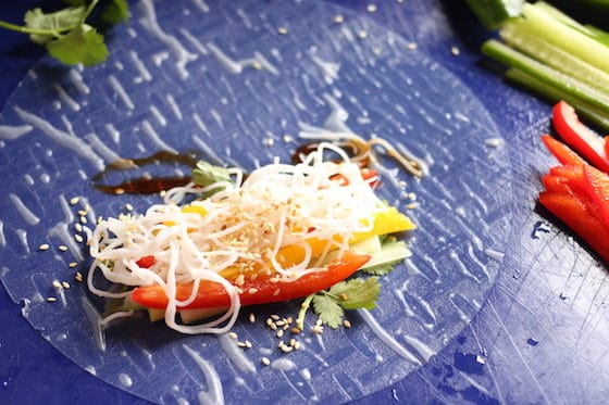 julienned vegetables, vermicelli and cilantro