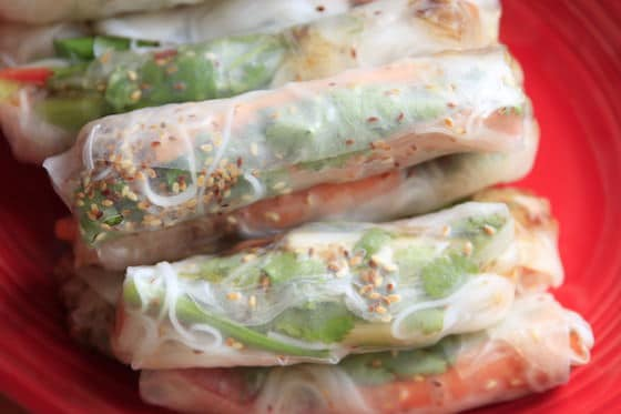 Healthy, fresh spring rolls with rice paper wrappers