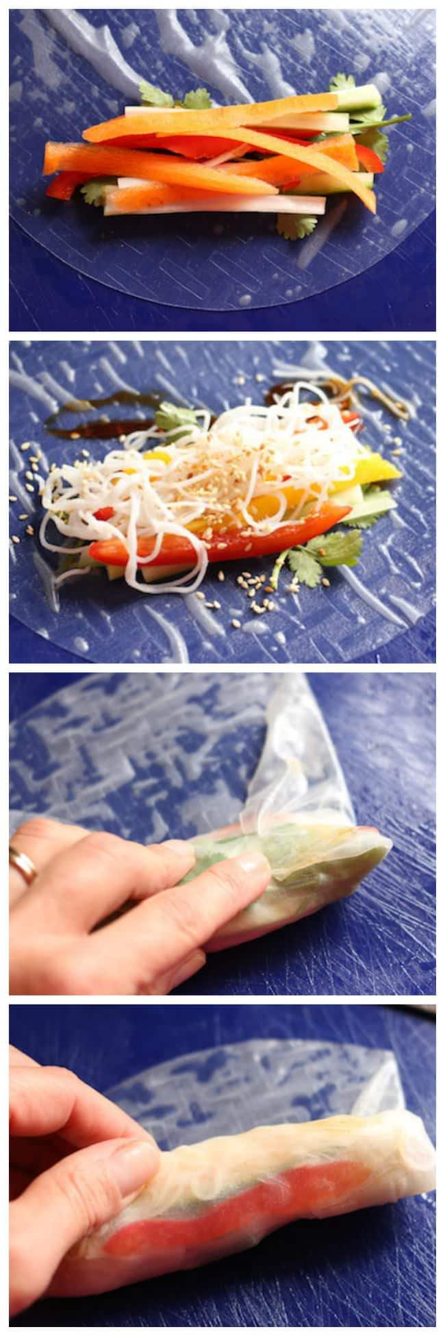 Easy, Healthy Vietnamese Spring Rolls - a step-by-step tutorial. - Happy Hooligans