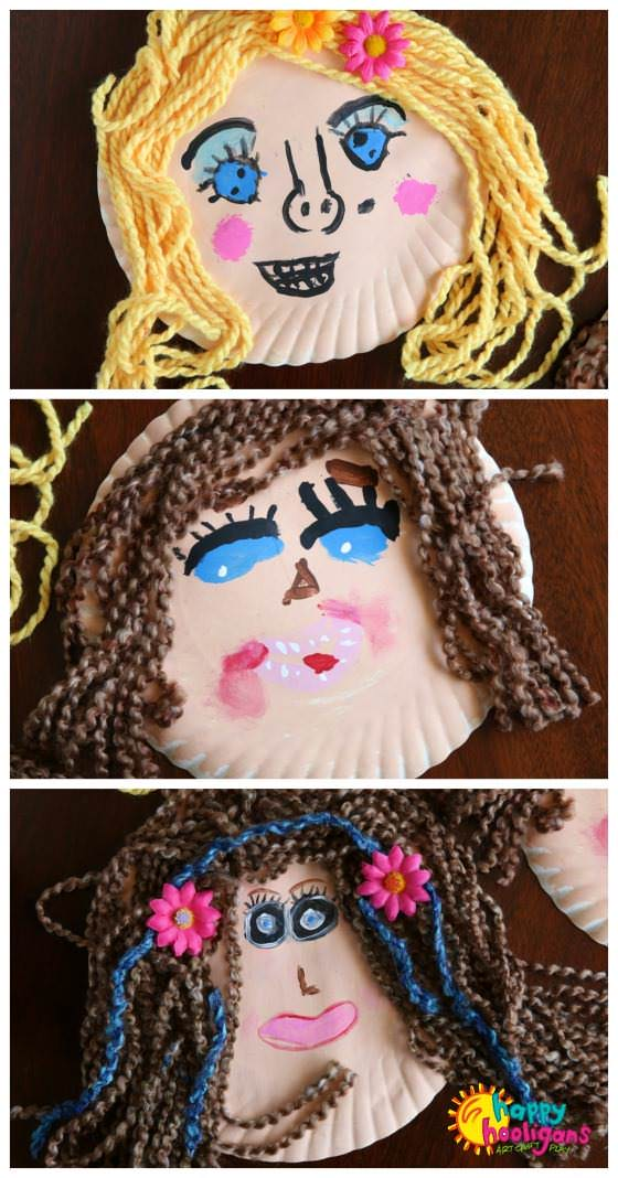 3 paper plate self-portraits made by kids