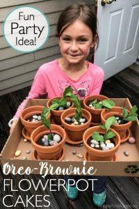 Birthday girl holding Oreo-Brownie Flowerpot Cakes