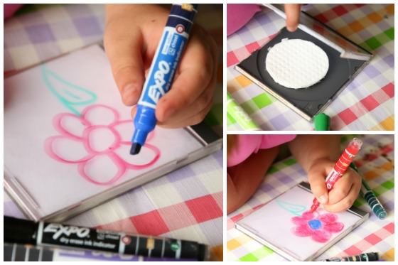 Drawing on CD case with Expo Dry Erase Markers