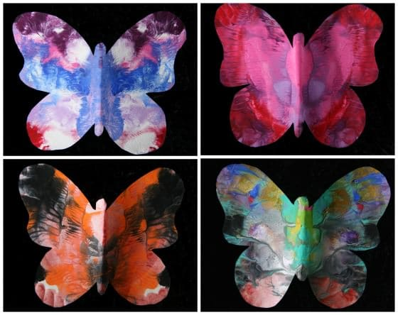 Collage of 4 painted butterflies