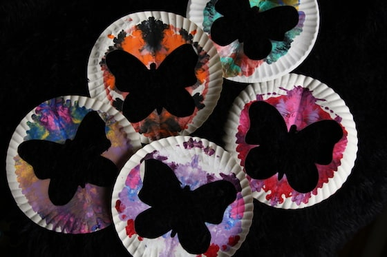 5 butterflies cut out of paper plates