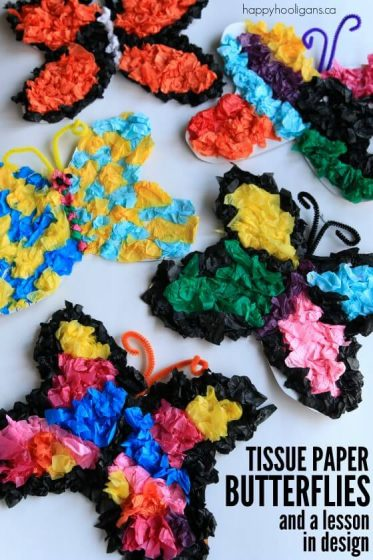 Tissue Paper Butterfly Craft and a lesson in design - Happy Hooligans