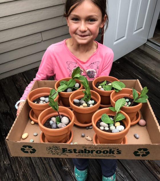 child holding tray of brownie flowerpot cakes