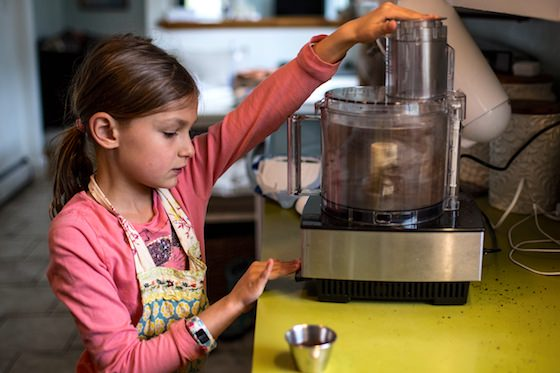 child using food processor