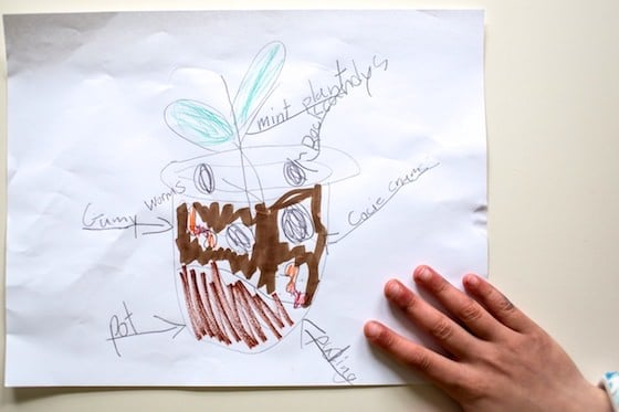 hand drawn plan for flower pot cakes
