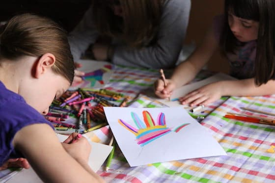 kids colouring traced hands