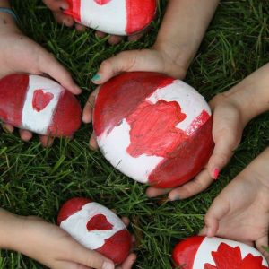 Canada Rocks - painted beach stones for Canada day