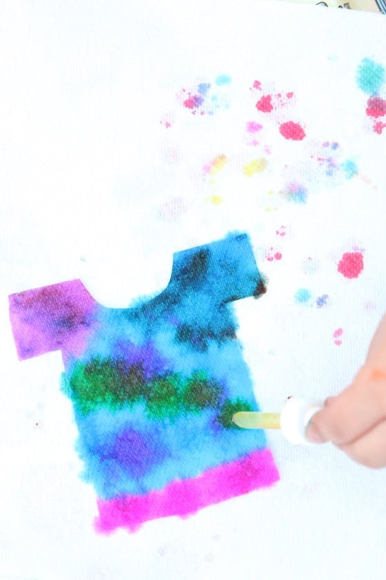 dripping colour on paper towel t-shirt