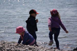 Kids throwing rocks at the beach