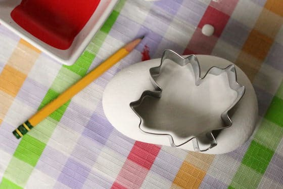Maple Leaf Cookie Cutter on Painted Rock