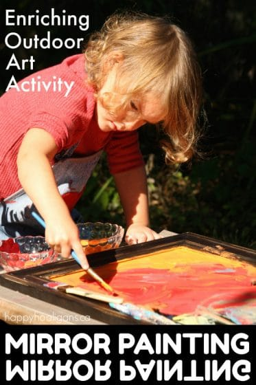 Painting on a Mirror - Outdoor Art Activity for Kids - Happy Hooligans