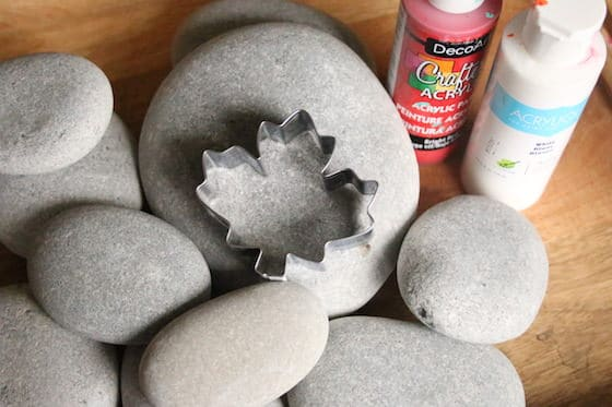 Smooth beach rocks, maple leaf cookie cutter, red and white paint