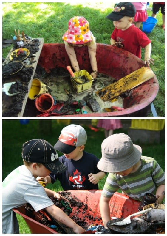 international mud day activities in a wheelbarrow