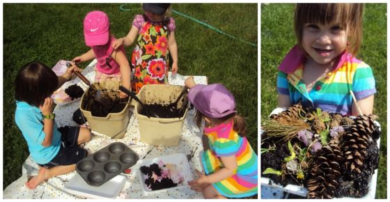 kids decorating mud cakes and mud muffins