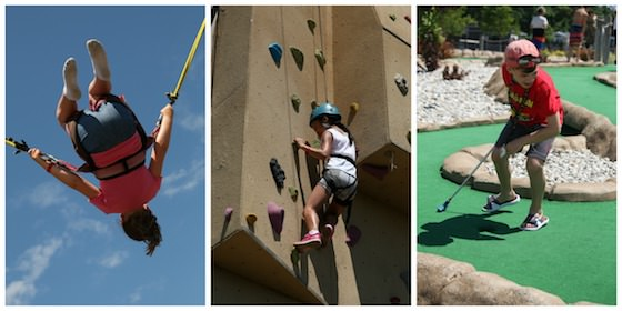 bungee-trampoline rock-wall mini-golf at Sherkston Shores Beach Resort