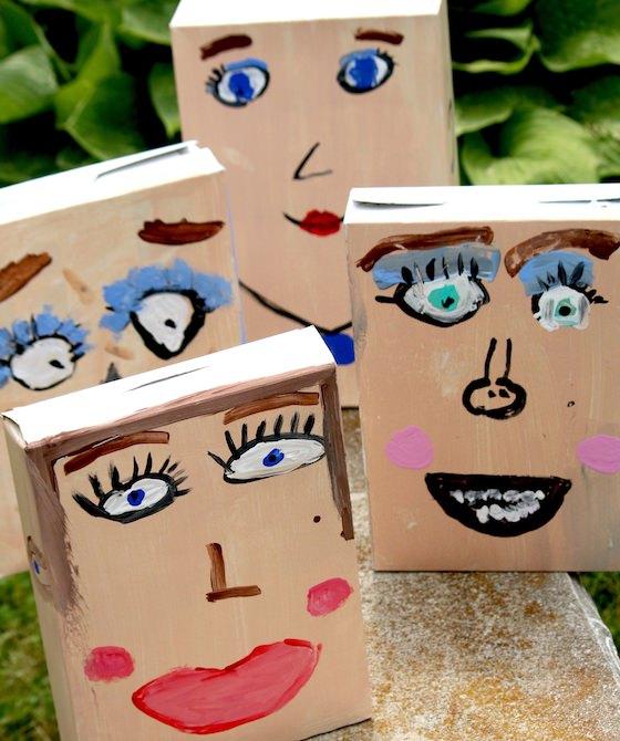 cereal box self portraits outside