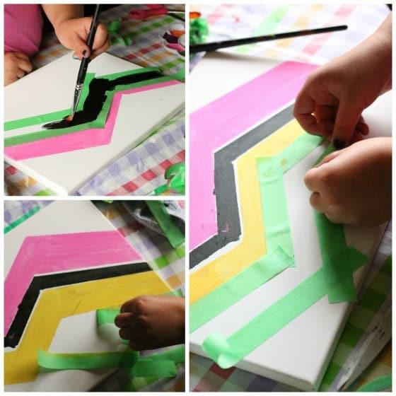 chevron tape resist art 10 year old