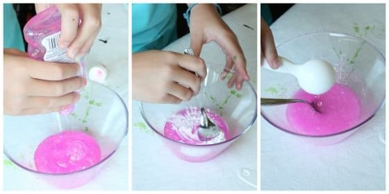 making glittery unicorn slime with Elmer's Glitter Glue