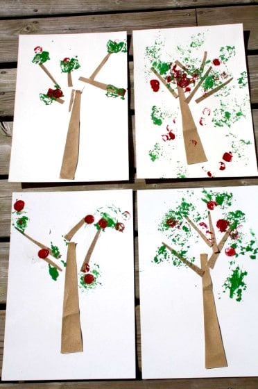 sandpaper and button apple tree craft for preschoolerscraft f