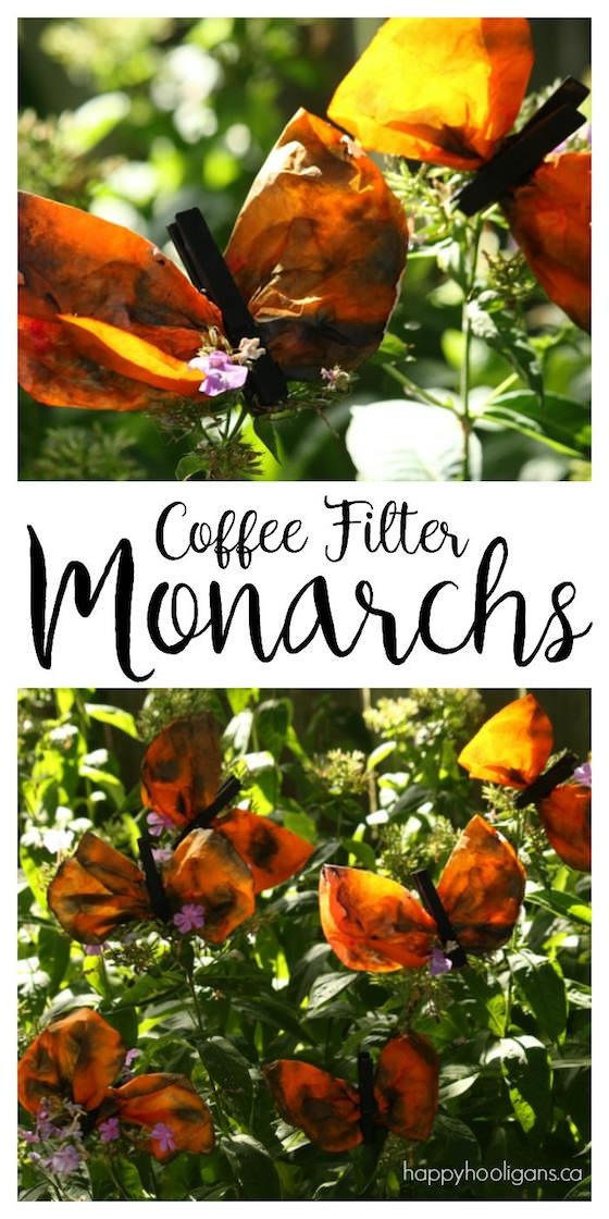 This monarch butterfly craft is quick and easy but the results are gorgeous. Have the kids make a bunch and hang a kaleidoscope of monarch butterflies in your home or classroom this fall - Happy Hooligans