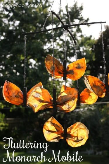 Fluttering Monarch Butterfly Mobile for Kids to Make - Happy Hooligans