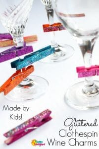 Glittered Clothespin Wine Charms for Kids to Make for Mom - Happy Hooligans