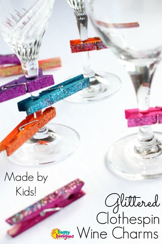 Glittered Clothespin Wine Charms for Kids to Make and Give - Happy Hooligans