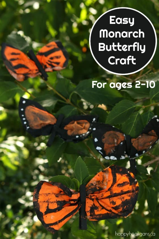 Monarch Butterfly Craft with Painted Coffee Filters
