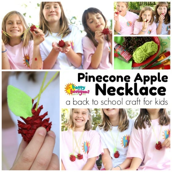 Pinecone Apple Necklace Craft for Kids for Back To School - Happy Hooligans