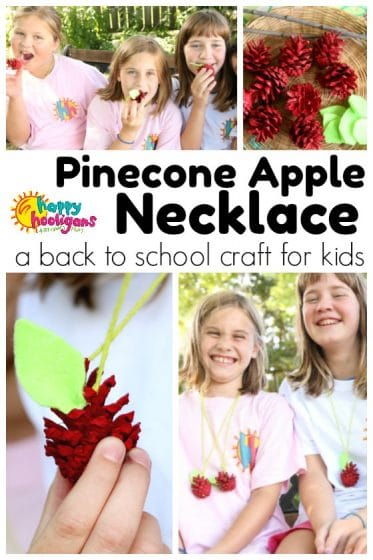 Pinecone Apple Necklace - easy back to school craft for kids - Happy Hooligans